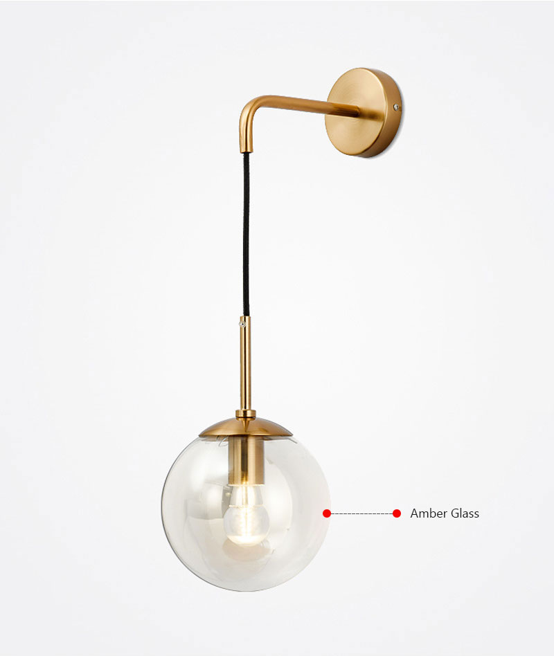 Nordic Post Modern LED Wall Lamp Creative Glass Ball Mirror Bedside Wall Lamps Vintage Wall Light For Living Room Heme Deco (4)