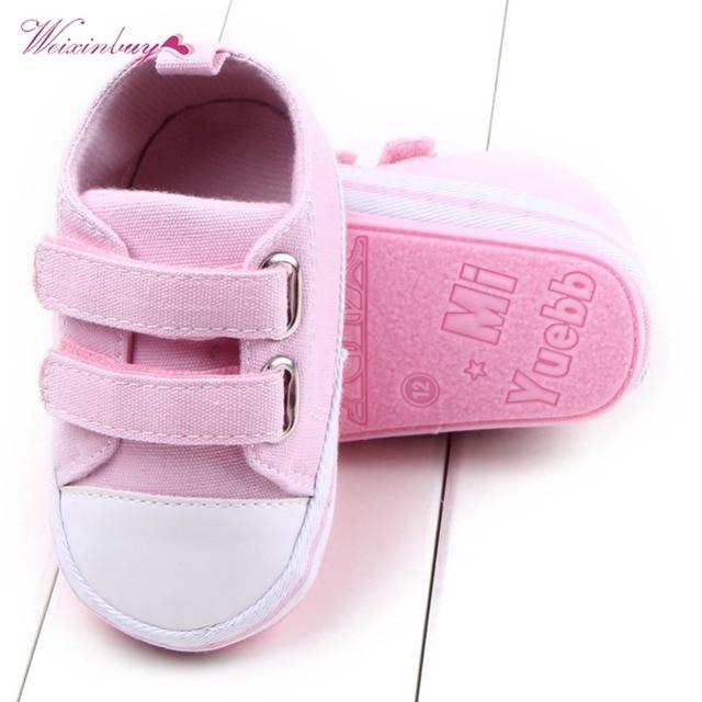 WEIXINBUY Canvas Baby Shoes Newborn Boys Girls First Walkers Infant Toddler Soft Bottom Anti-slip Prewalker Sneakers 0-12M 3