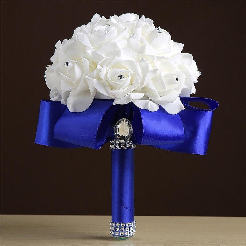 Wedding-Bouquet Flower Royal-Blue Buque-De-Noiva Handmade Artificial With Ribbon Cheap