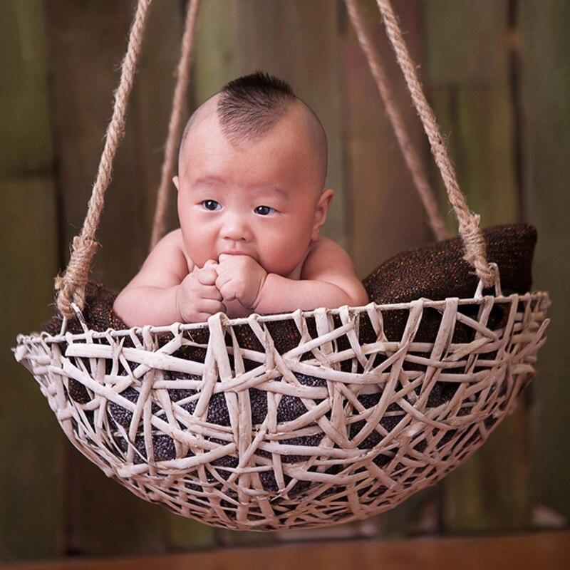 Baby Girl Boy Iron Rattan Basket Picture Photography Props Newborn Photo Shoot Studio Props Baby Fotografia Basket Accessories