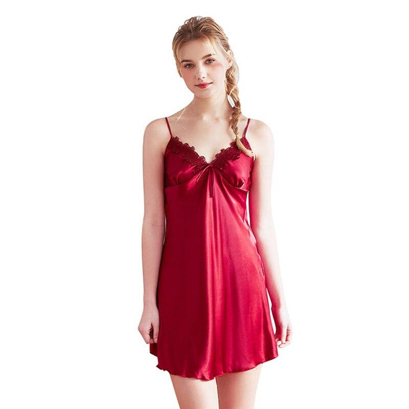 Summer Wine red Women Silk Nightgown Mimi Nightdress Lace Sleepwear Women's Sexy Sleep Lounge Satin Nightgowns Sleepshirts