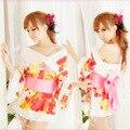 2015 ropa Stripper Micro Bikini Sexy ropa interior de los pijamas impresión japonesa Kimono mujeres de Cardigan tentación uniforme 82011