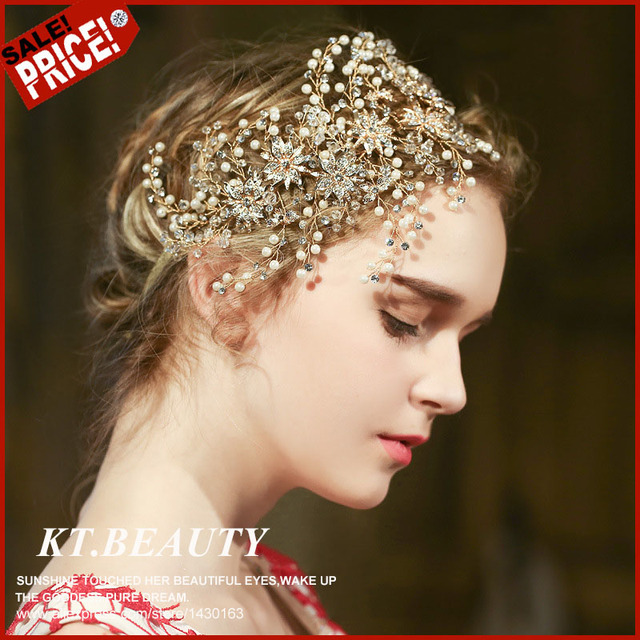 Vintage Golden Plated Peal Crystal Gold Silver Crown Tiara Bridal Hairpiece  Luxury Bride Wedding Alloy Accessories For Party e086afd07