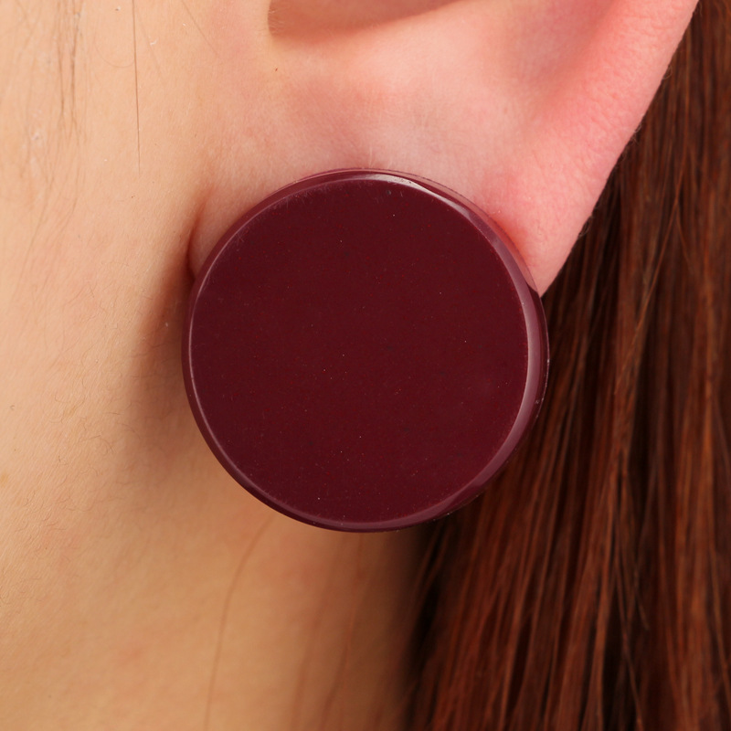 YiKLN Green Brown Color Round Stud Earring Trendy Cute Earrings for Women Geometric Brincos Statement Jewelry YG5956