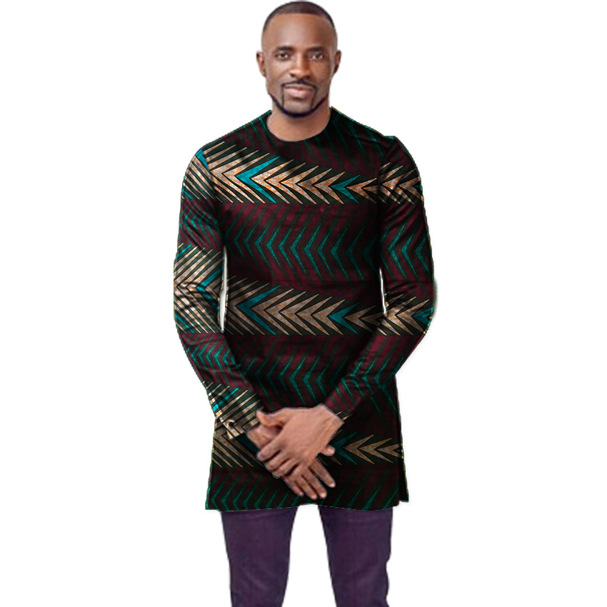 O neck African shirt men fashion Ankara print dashiki tops custom made long sleeve shirts wedding African clothes in Africa Clothing from Novelty Special Use