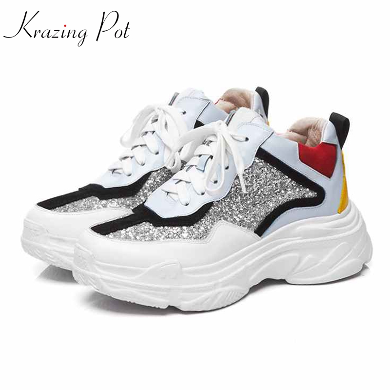 Krazing pot genuine leather sequined cloth European classical designer round toe sneakers lace up wedges vulcanized