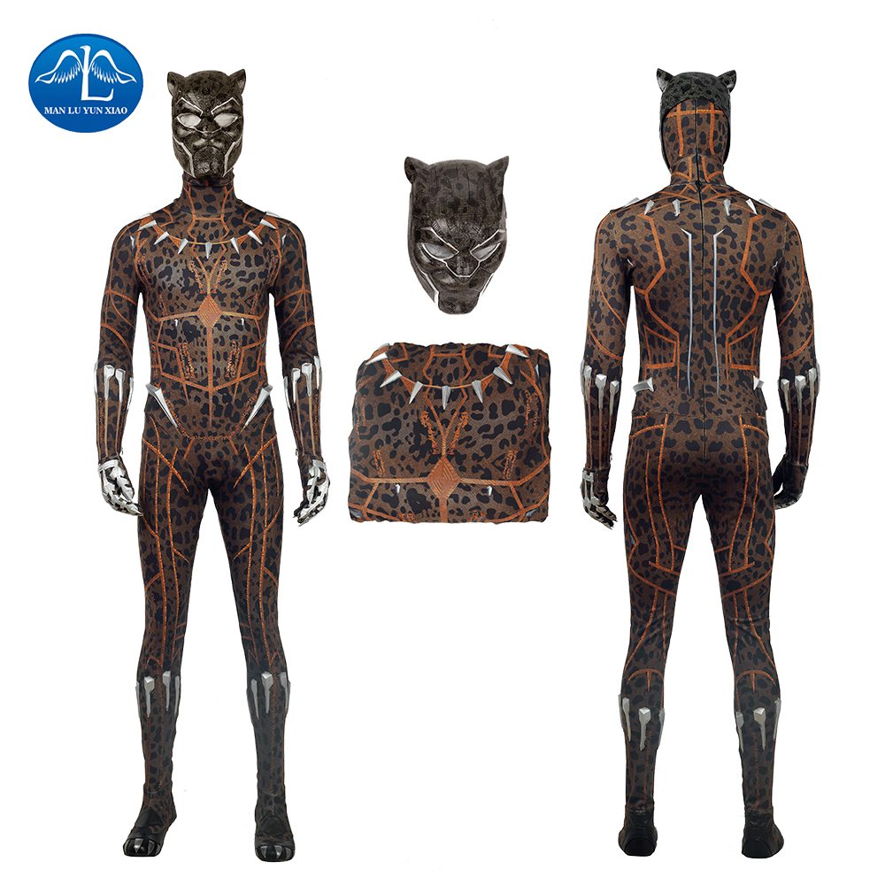 2018 New Arrival Black Panther Cosplay Costume Halloween Costumes Black Panther Costume Men leopard print Jumpsuit  Custom Made