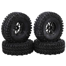 Mxfans 1 9 inch Black Plastic Y Shape Wheel Rims 115mm OD Rubber Tires for RC1