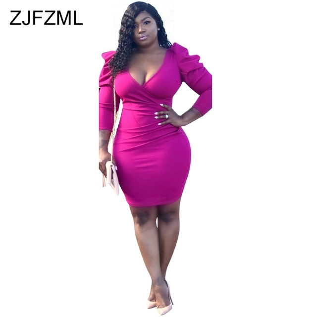 Puff Sleeve Plus Size...