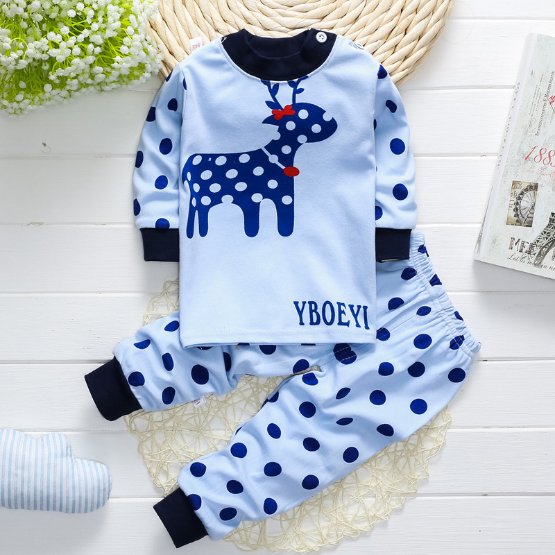 Autumn and winter children underwear set baby children children cotton long johns male baby girl suit