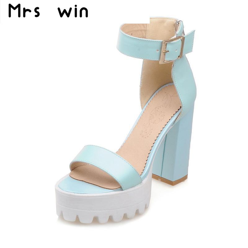 Big size 34-43 new Women Sandals Vintage Design Ankle Straps Open Toe Summer Shoes Thick High Heels Platform Sandals new 2016 sexy gladiator ankle straps high heels fashion brand women sandal summer mixed colors open toe sandalias big size 34 43