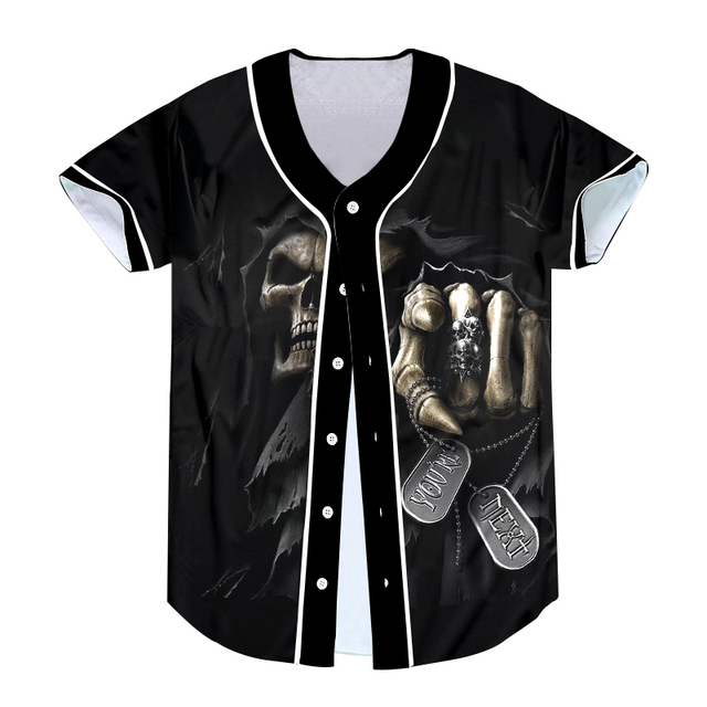 10c4cef82fe16 Hot Baseball Jersey TShirt Skull Punisher Grim Reaper 3D Print Short Sleeve  Men T-Shirt Button Shirt Slim Fit Hip Hop Streetwear
