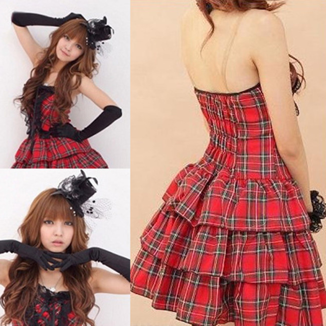 Free shipping Lolita costume Plaid skirt foreign princess dress sexy lingerie Student performance clothing hot sale