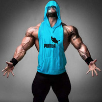 Mens Print Loose Active Fitness Hooded Tank Tops For Men Bodybuilding Muscle Gymnasium Hoodies Sleeveless T