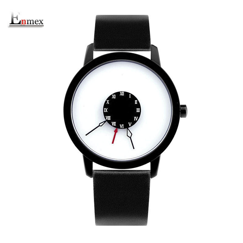 2018 men gift Enmex brief design creative Upside down hand unique design for young fashion unique quartz watches 2017 gift enmex creative simple design brief face with a red pointer leather band water prof young and fashion quartz watch