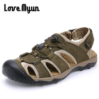 Brand Fashion Men Sandals Genuine Leather Cow slippers Men Casual Beach Sandals High Quality soft sole shoes 46.47 FF 40