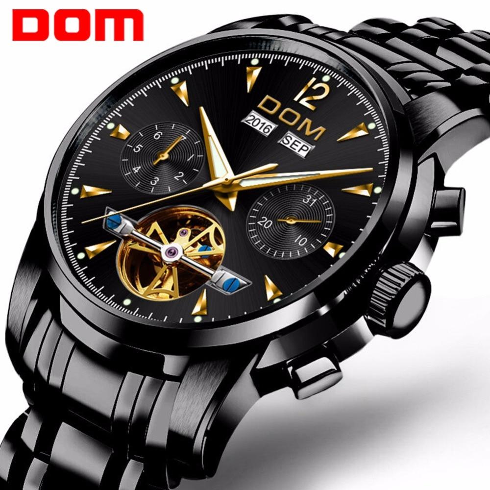 DOM Fashion Design Skeleton Men Mechanical Watch Luminous Hands Transparent Steel Bracelet For Men Top Brand