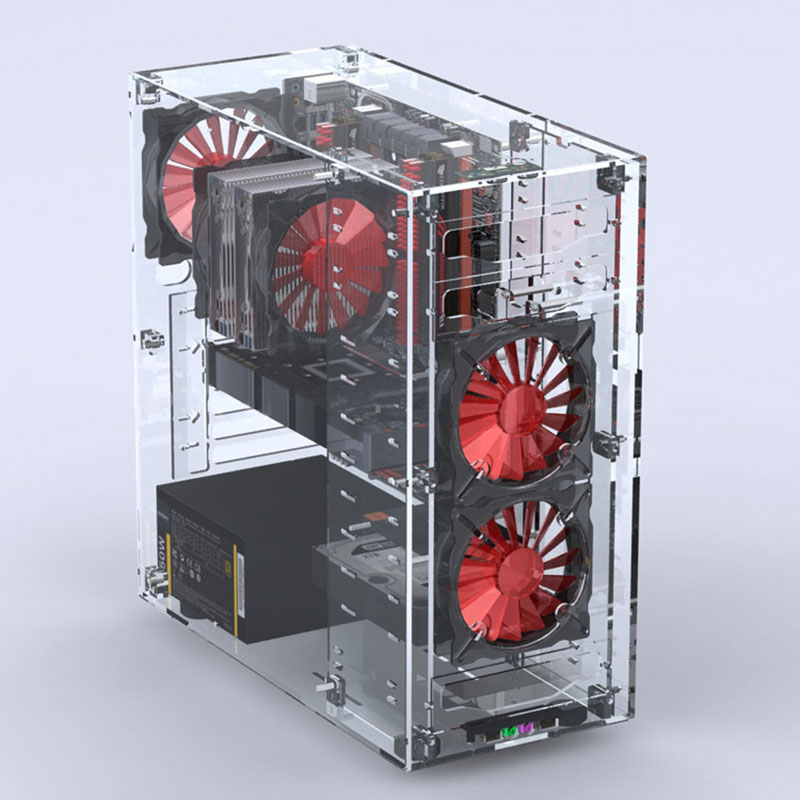 2018 Newest Desktops Acrylic All Transparent Vertical Micro/ATX Computer Cases Towers Plexiglass USB3.0/ Audio Hands-on assembly diff drop kit for hilux