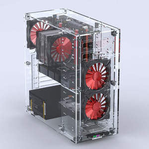 2018 Desktops Acrylic All Transparent Vertical Micro/ATX Computer Cases