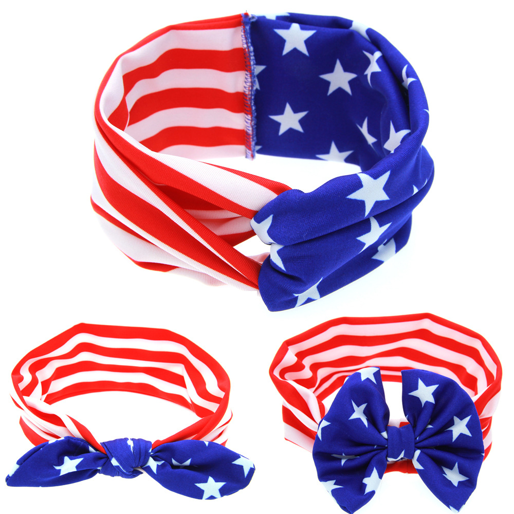 10pcs lot national flag country flag stick flags flag of the united - Wholesale 100pcs Lot New Arrival Fashion Usa Flag Headband 3style Girls Fabric Turban Headwrap