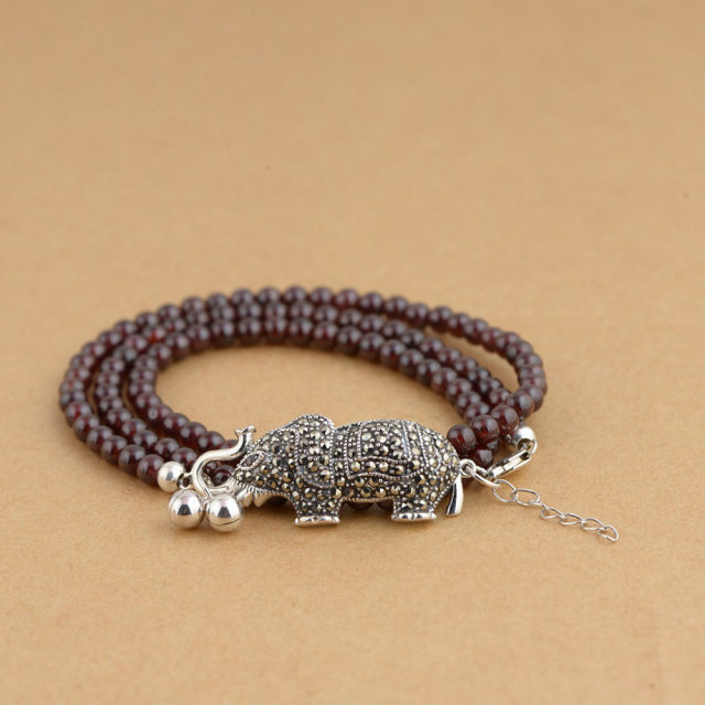 company products elephant animal image yoga social stone bracelet glass bead product