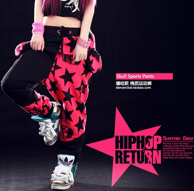 Fashion Brand Harem Hip Hop Dance pants  Kids Adult Stars patchwork candy pentastar sweatpants Panelled Spliced skull punk pants