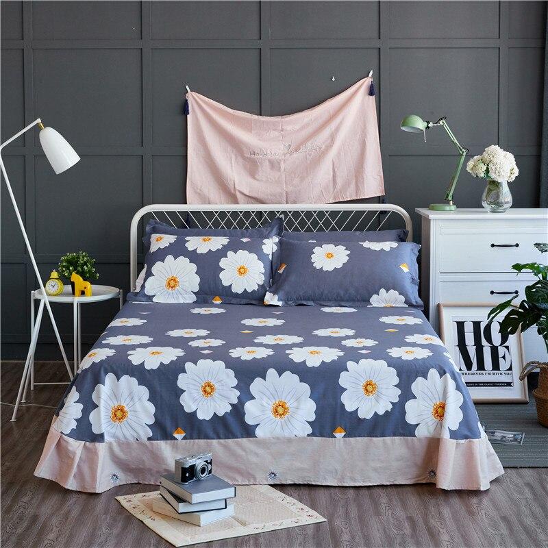 Dark Blue + White Print Pattern 3Pcs Flat Sheet 100% Cotton Bed Sheet For Child Kids Adults Pillow Covers 250x270cm King Size