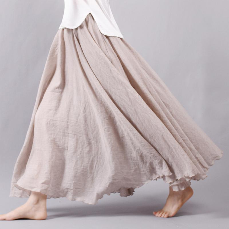 New Fashion Women Boho Vintage Pleated Maxi Skirt 2018 Summer Elastic High Waist Casual Cotton Linen Beach Skirts Faldas Saias