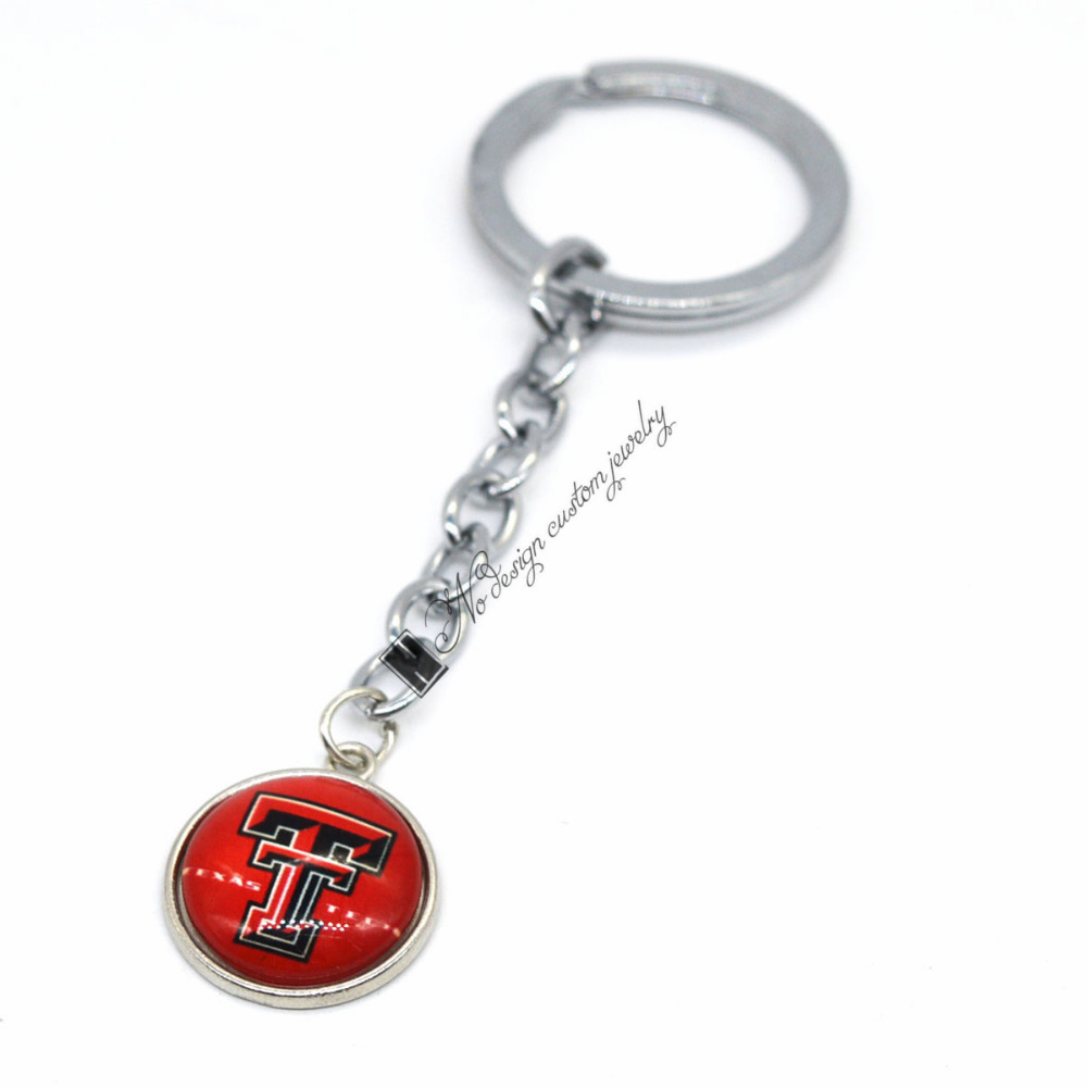 2017 Basketball Jewelry Keychain NCAA Texas Tech Red Raiders Charms /18mm Snap Button Charms Car Keyring for Women Men Gift image