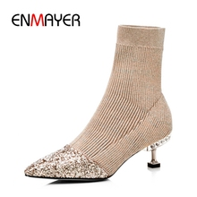 ENMAYER New Arrival women fashion stretch fabric pointed toe slip-on boots lady mixed colors thin heel ZYL823