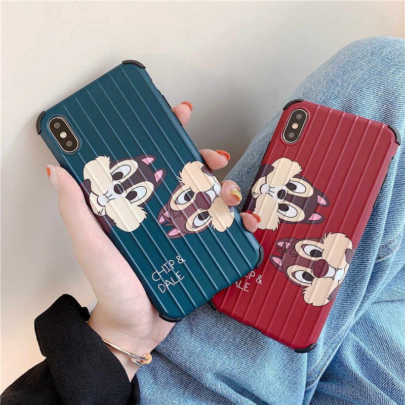 Cute Cartoon Chip n Dale Travel Luggage Phone Case for iPhone X XR XS Max Hard PC TPU Protective Covers for iPhone 6 6s 7 8 Plus