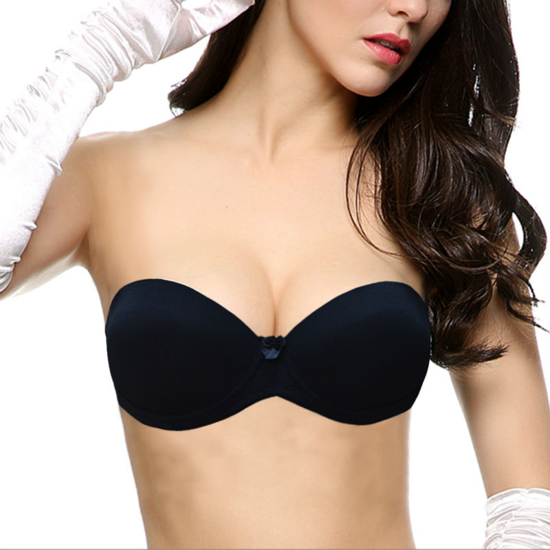 Vogue Secret Plunge Bra Women Padded Push Up Bra Quality Strapless Convertible Half Cup Sexy Lingerie Bralette Silicone Straps Bras Women's Intimates