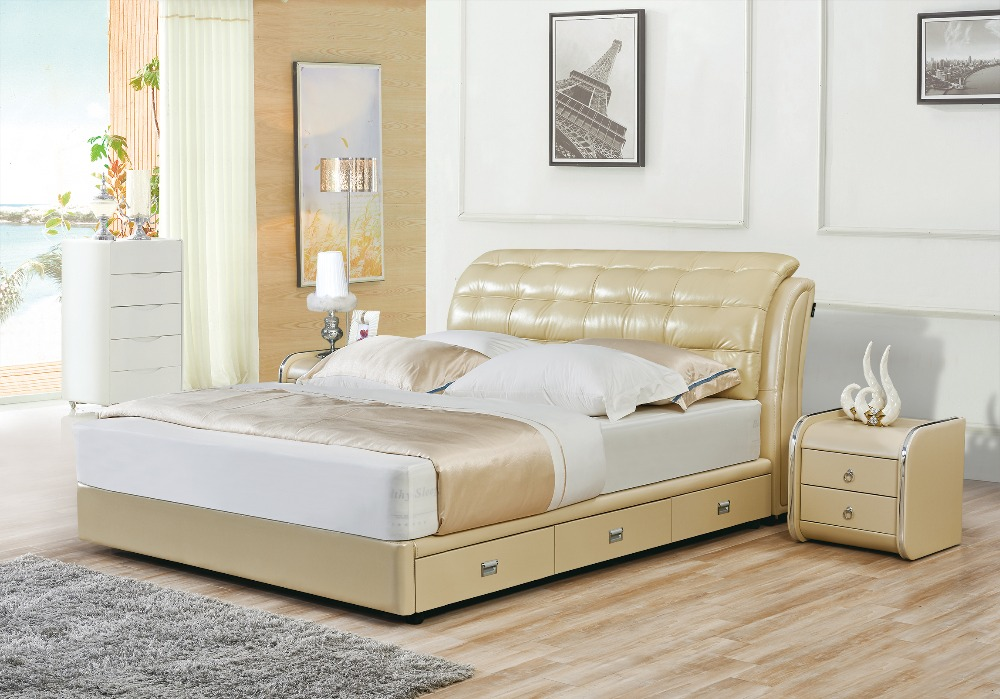 2016 Soft Bed Direct No Soft Bed Selling Special Offer King Size Modern  Genuine Leather Bedroom Furniture Minion Sofa Beds
