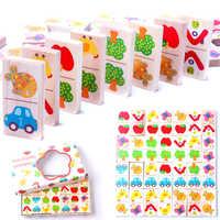 28 pçs de madeira dominó fruta animal reconhecer blocos dominó jogos jigsaw montessori crianças aprendizagem educação puzzle brinquedo do bebê