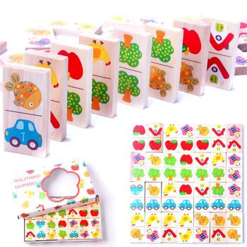 28 sztuk drewniane Domino owoce zwierząt rozpoznać bloki Domino gry układanki Montessori dzieci nauka edukacja Puzzle zabawka dla dziecka tanie i dobre opinie OSM778389 5-7 lat 2-4 lat Drewna Transport Zwierzęta i Natura Made in China