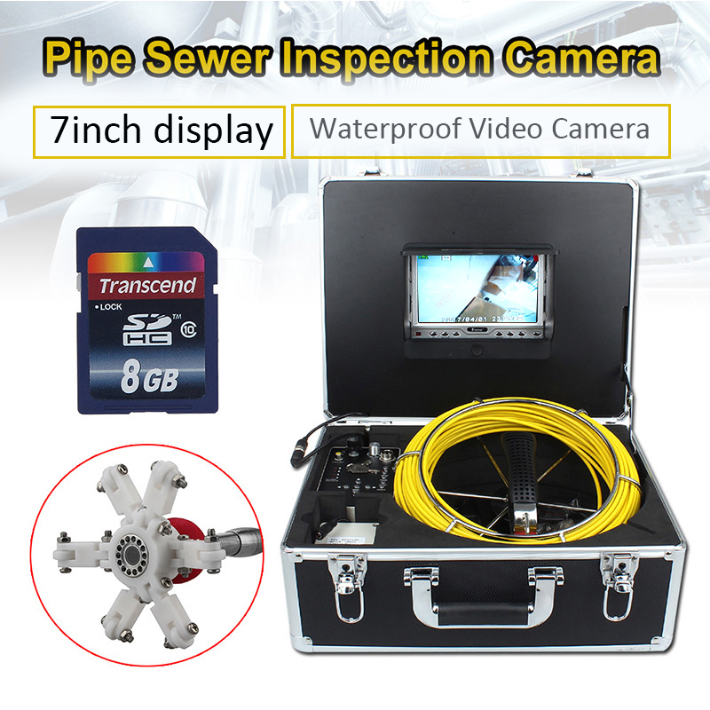7D1 Industrial/ Home Inspection Camera For Exhaust Pipe Sewage Road Pipeline Chimney 20-50M Yellow Cable Waterproof Endoscope
