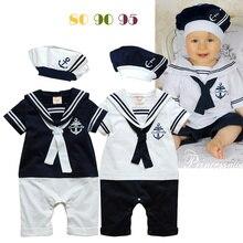 2016 bébé vêtements bébé garçon vêtements infantile barboteuses marine style coton à manches courtes barboteuse + chapeau garçons 2 pcs ensembles bébé costume