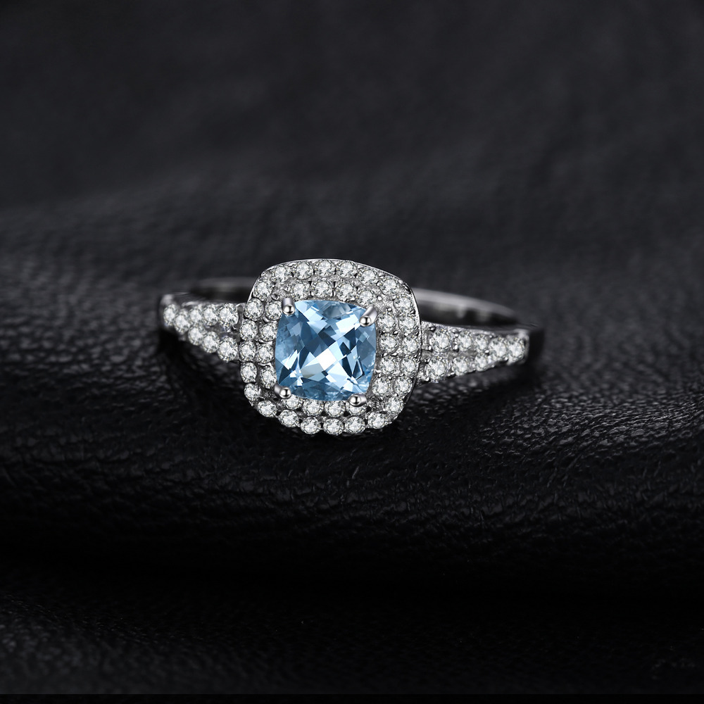 JewelryPalace Cushion Cut 0.9ct Natural Aquamarine Halo Engagement Ring 925 Sterling Silver X4xAZXTh