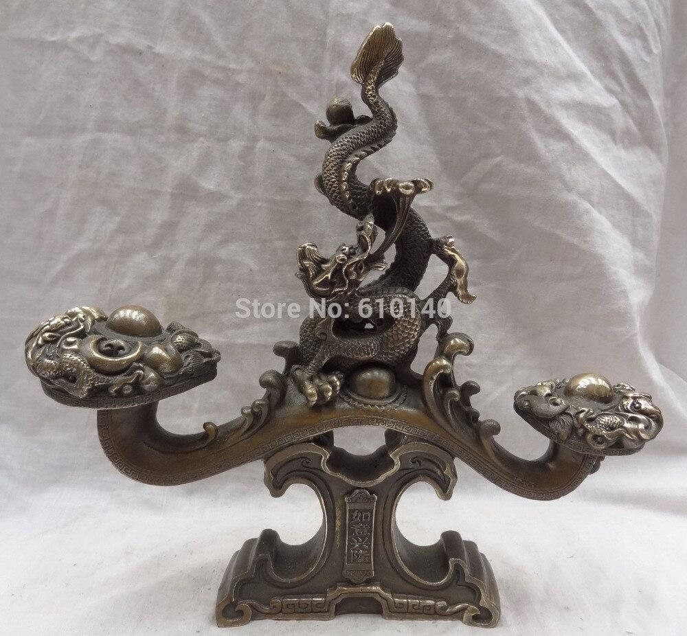 12 Cinese Bronzo JiXiang RuYi XingLong Ricchezza Dragon Head Statua Scultura12 Cinese Bronzo JiXiang RuYi XingLong Ricchezza Dragon Head Statua Scultura