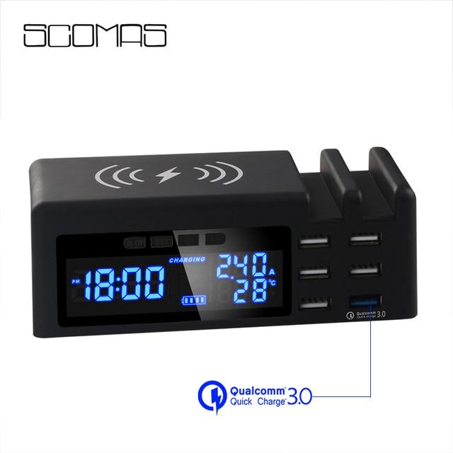 SCOMAS Qi cargador de teléfono inalámbrico de carga rápida 45w 6 puertos adaptador multi rápida estación de carga USB para iphone tablet QC 3,0