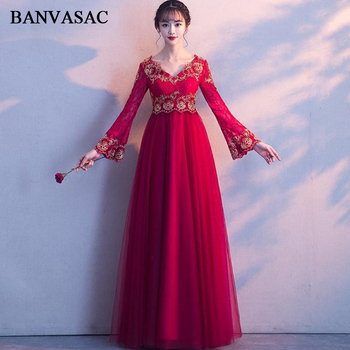 BANVASAC 2018 V Neck Lace Appliques Long Evening Dresses Party A Line Embroidery Long Sleeve Backless Prom Gowns