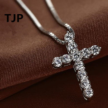 TJP New Fashion Cross Necklace Accessory Ture 925 Sterling Silver Women Crystal CZ Pendants Necklace Jewelry