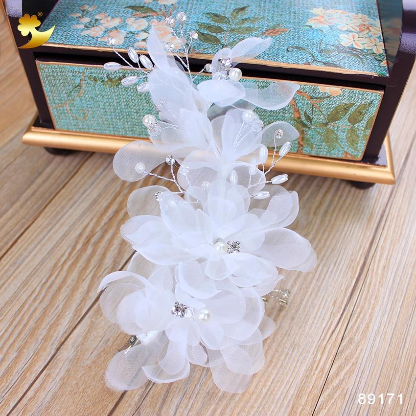 XinYun Novi beli cvetlični sponki za lase Kristalni nakit za lase Poročni dodatki za lase Cvetlični barreti Neveste
