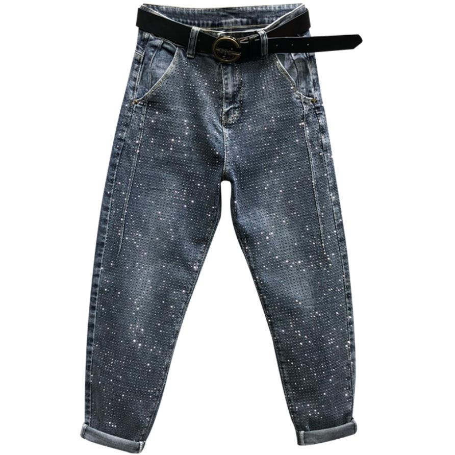 Plus Size 26-31!Fashion Rhinestones Diamond High Waist Women Denim Pants Loose Casual Jeans Female Harem Pants