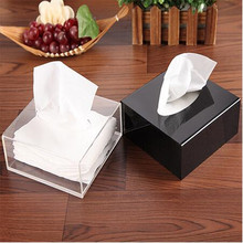 1 Set Christmas Top Grade Gift Acrylic Tissue Box Black Square Creative Waterproof Simple European napkin holder car tissue box