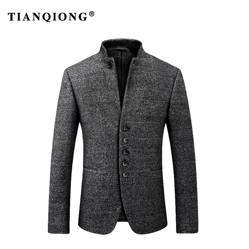 TIAN QIONG 2018 Autumn Winter Young China Wind Thicken Coat Mens Chinese Tunic Suit Men