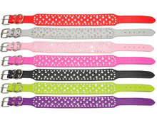 2 inch Rhinestones Dog Collars Full Sparkly Crystal Diamonds Studded PU Leather Bling Pet Appearance for Medium & Large Dogs