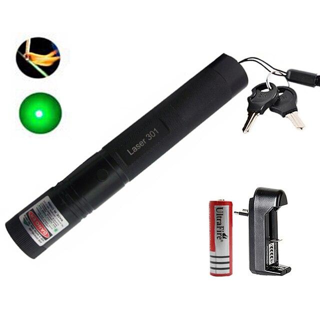 לייזר מצביע 301 גבוהה כוח 532nm פוקוס ירוק לייזר עט עוצמה אחת נקודת לייזר + 18650 סוללה + מטען + בטוח מפתח