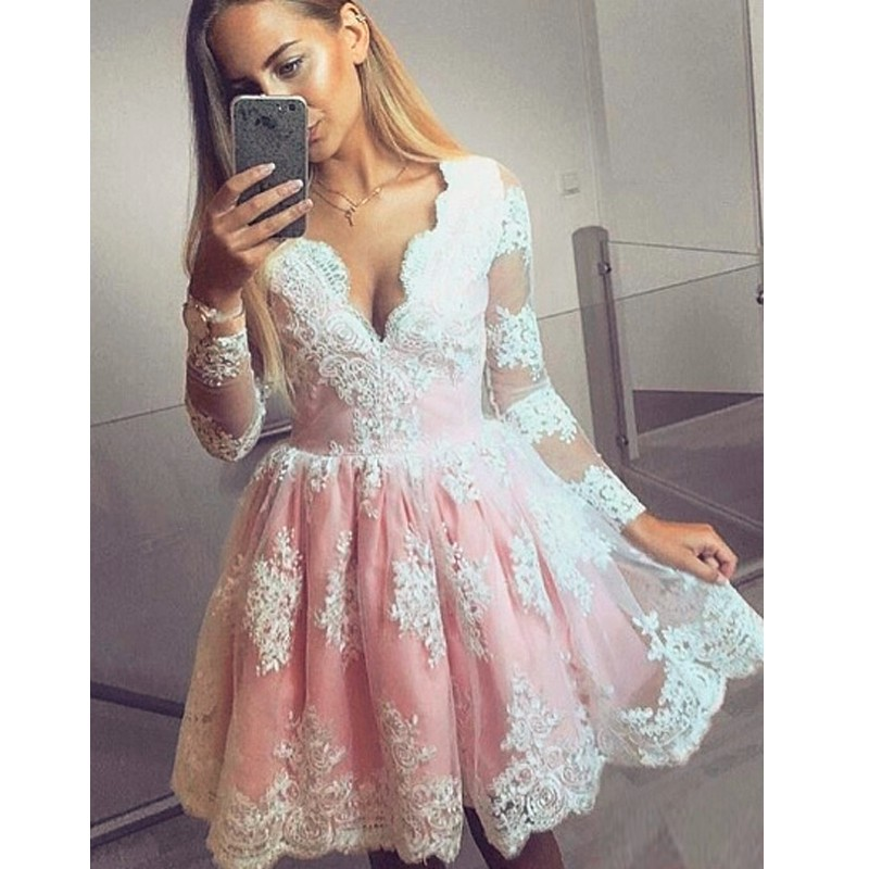 Online Get Cheap Knee Length Long Sleeved Dress for Prom ...