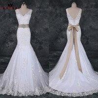 Mermaid V Neck Open Back Lace Beaded Mariage Sexy Wedding Dresses Robe De Mariee 2018 Real